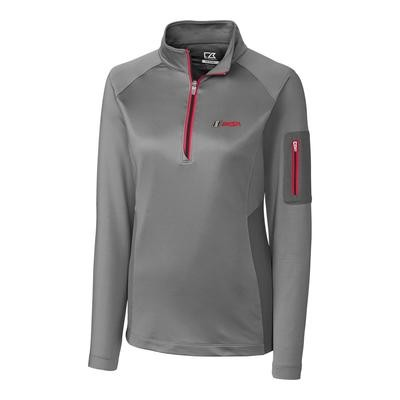 IMSA Ladies Shaw Half Zip L/S Top - Oxide/Cardinal