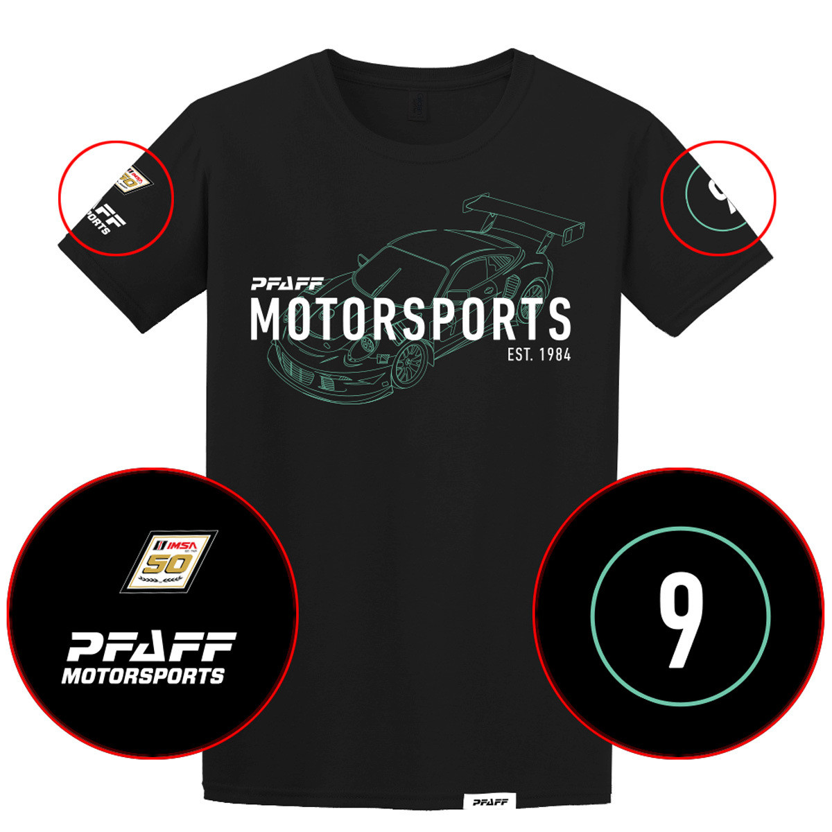 Pfaff Racing/IMSA 50th Anniversary Tee - Black