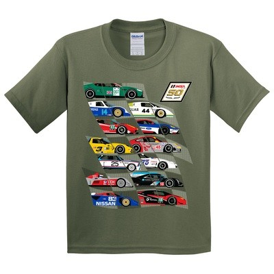 IMSA 50th Car Montage Youth Tee - Military Green