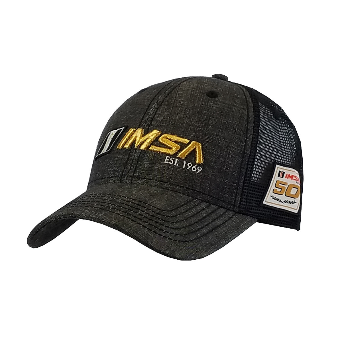 IMSA 1969 Trucker Mesh Hat Blk Chambray