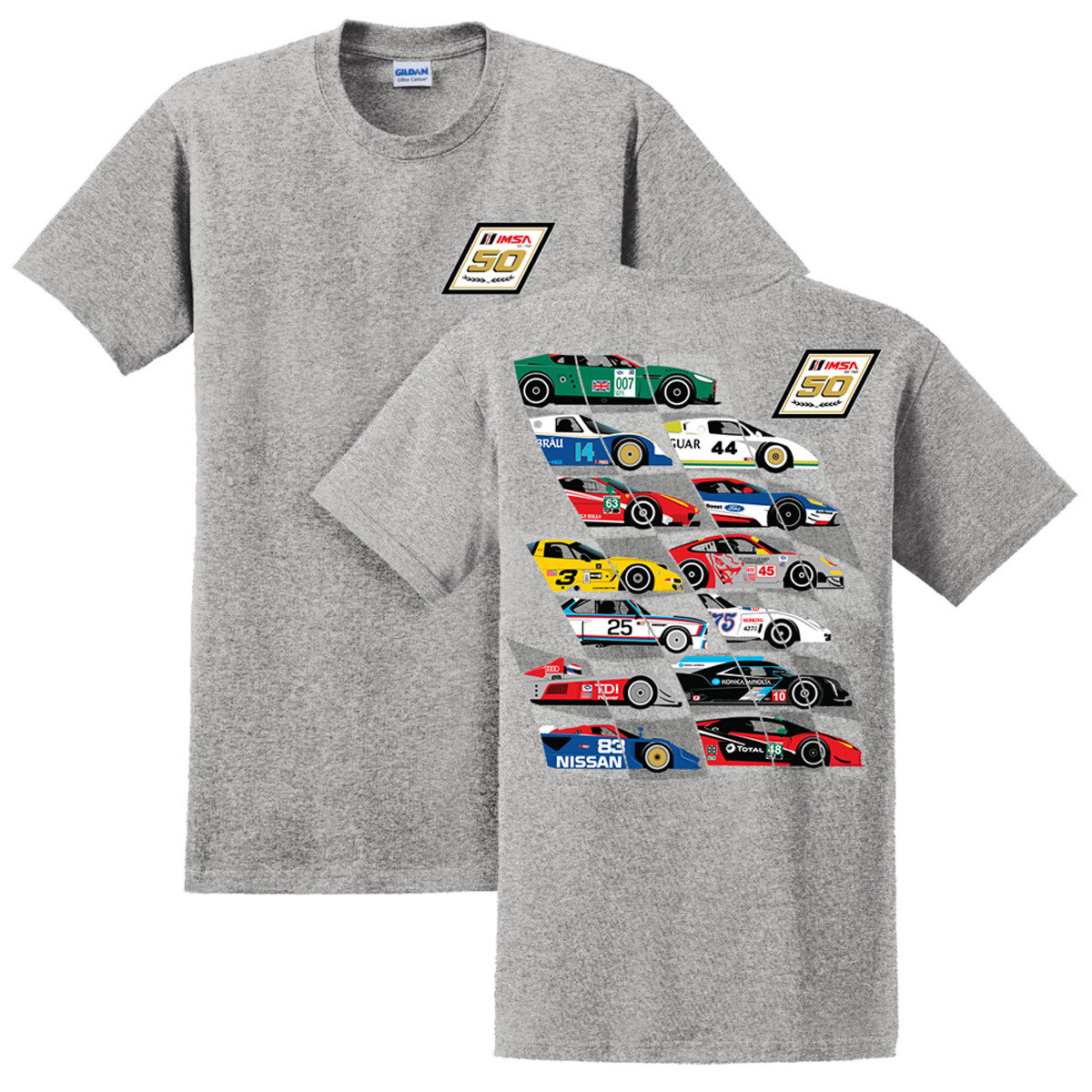 IMSA 50th Anniversary Car Montage Tee- Ice Grey