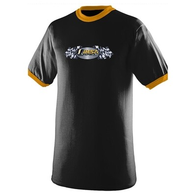 IMSA 50th Anniversary Steel Flag Ringer Tee - Black/Gold