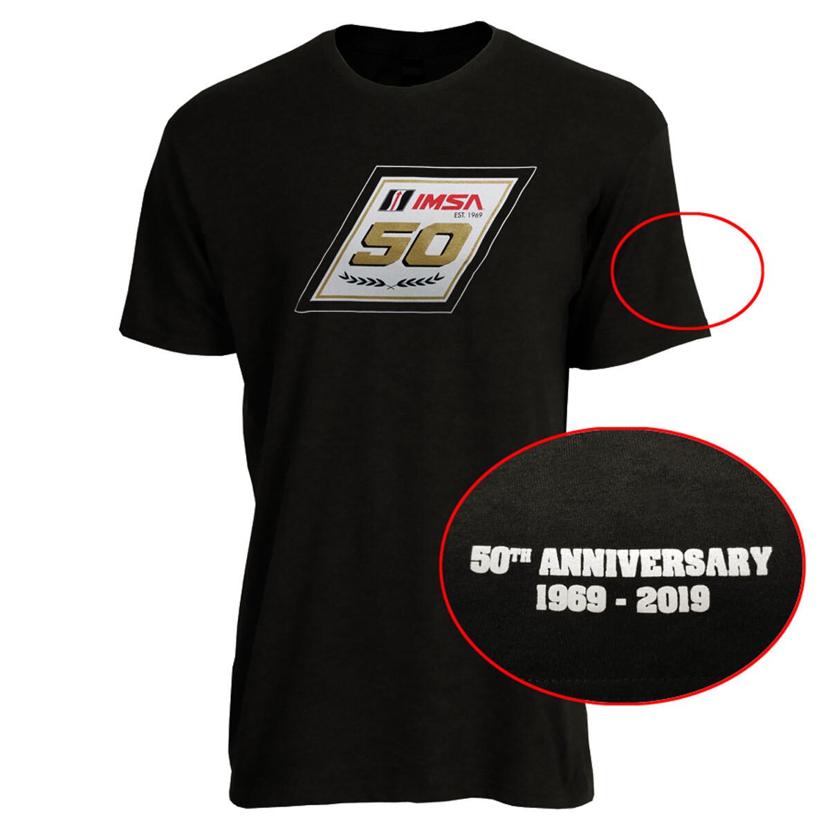 IMSA 50th Anniversary Metallic Gold Logo Tee- Vintage Black