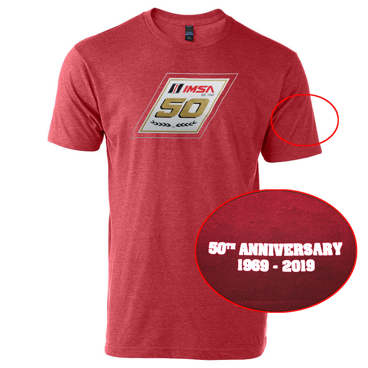 IMSA 50th Anniversary Metallic Gold Logo Tee- Heather Red
