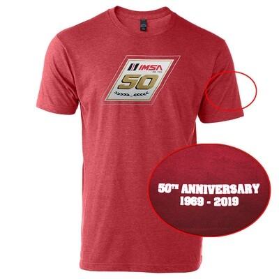 IMSA 50th Anniversary Metallic Gold Logo Tee- Heather Red