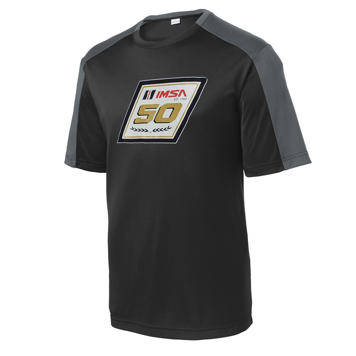 IMSA 50th Anniversary Metallic Logo Performance Tee - Black/Pewter Grey