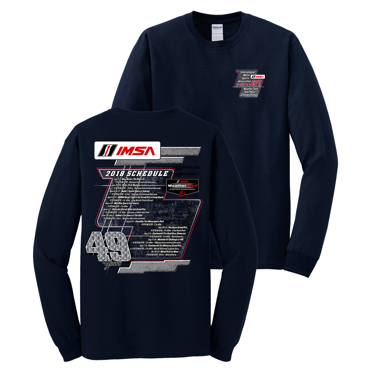 IMSA Long Sleeve Schedule Tee - Dark Blue