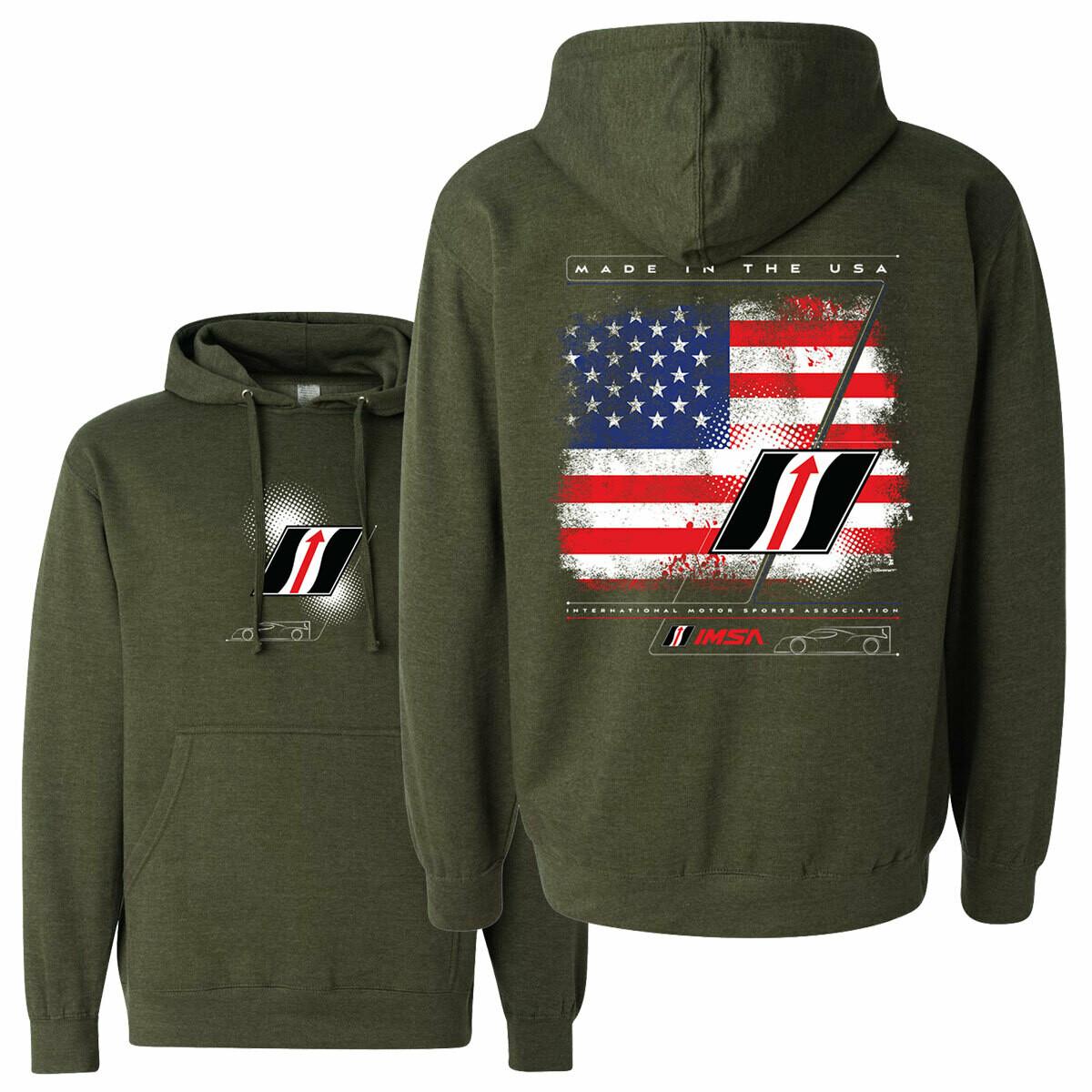 IMSA 2020 Flag & Apex Hooded Sweatshirt -  Military Green