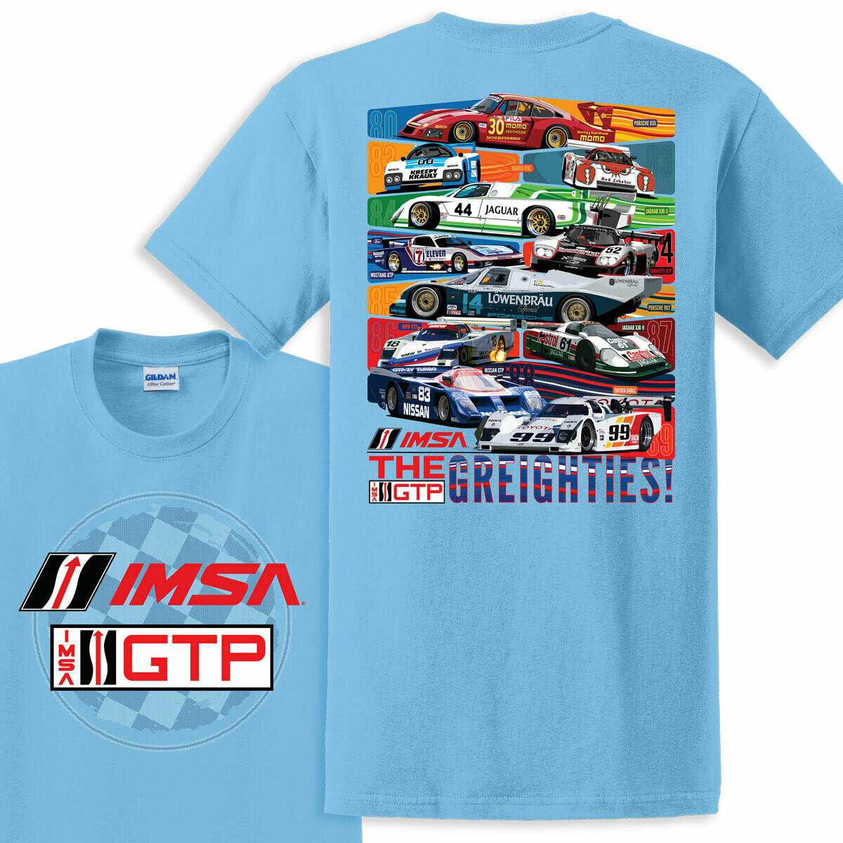 IMSA 1980s Car Heritage Tee - Sky Blue