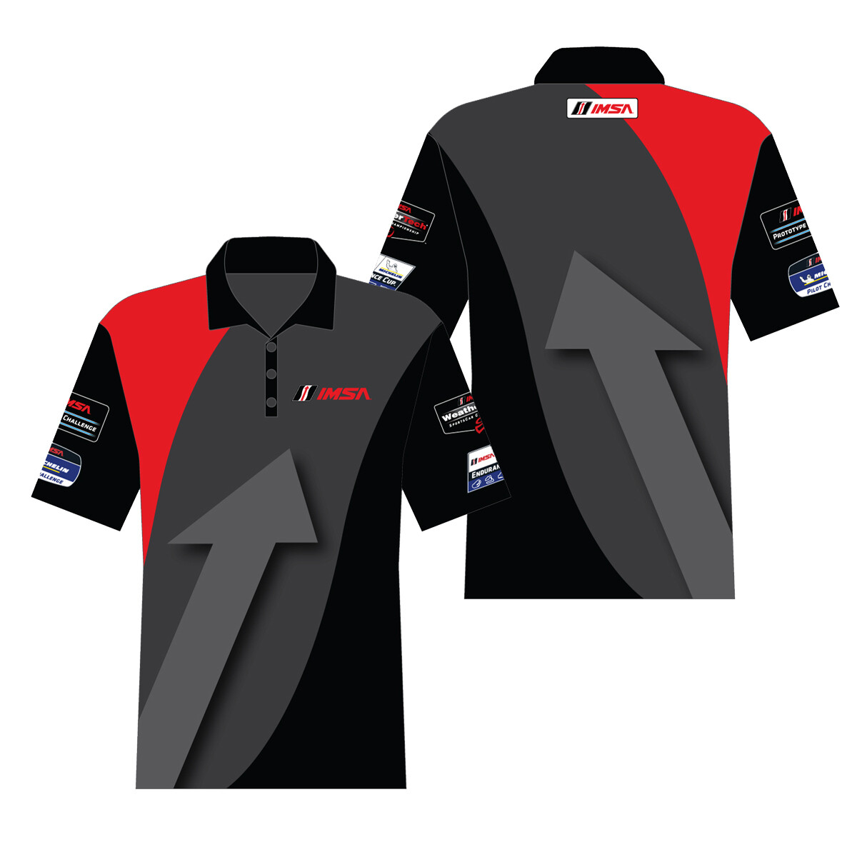 IMSA Apex Polo Blk/Gry/Red