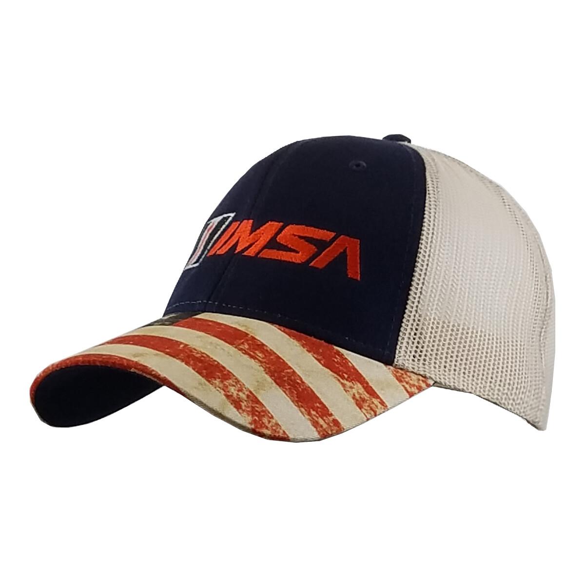 IMSA Trucker Mesh Hat with Flag Visor  - Navy/Stone