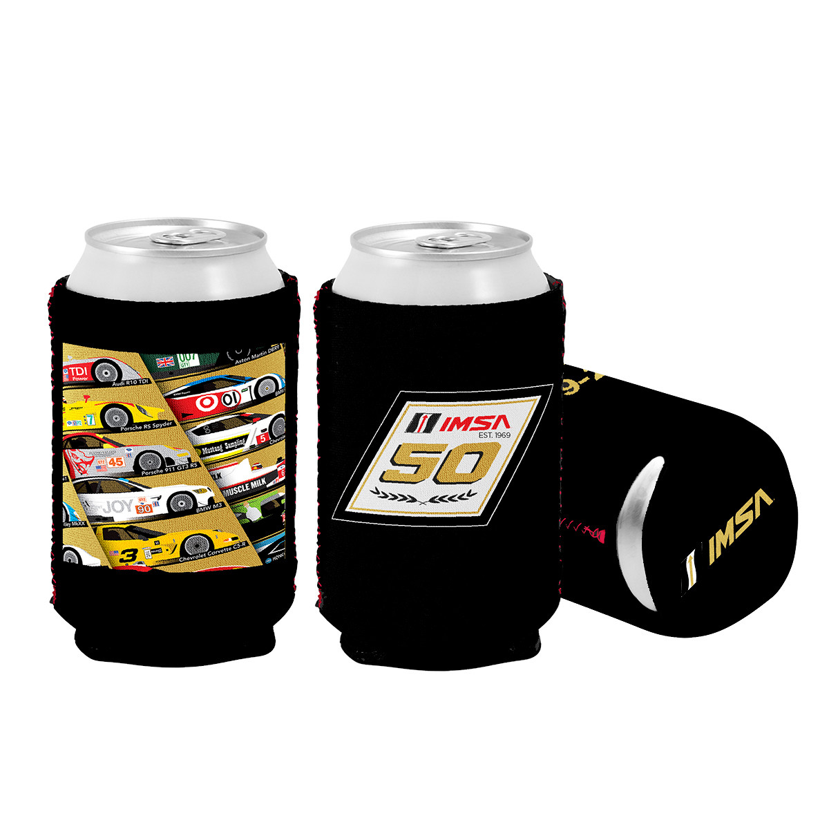 50th Car Koozie-Red Stitching