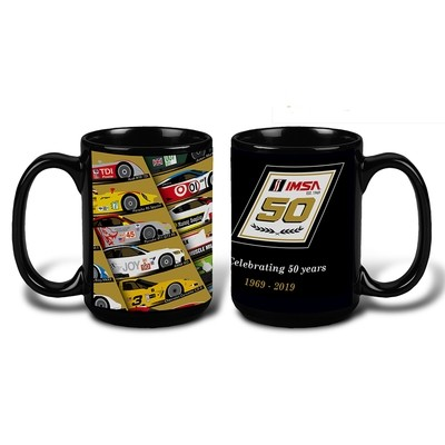 50th Car Coffee Mug Black 15 oz.