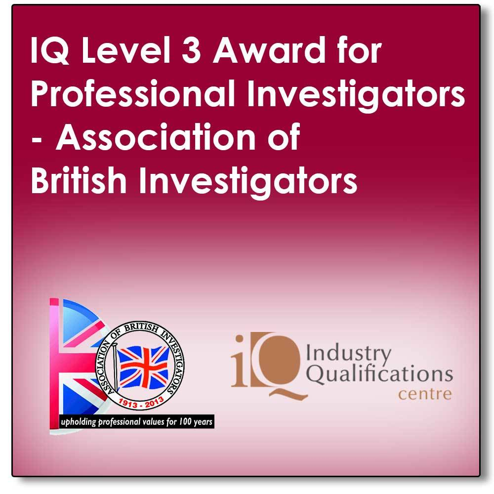 A 5 day full tutor programme leading to a final exam to achieve an industry recognised qualification in Professional Private Investigations (The IQ Level 3 Award for Professional Investigators) 00001