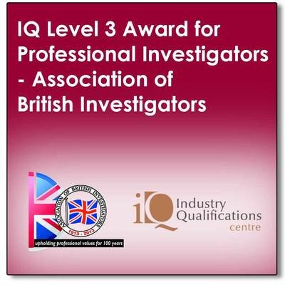 A 5 day full tutor programme leading to a final exam to achieve an industry recognised qualification in Professional Private Investigations (The IQ Level 3 Award for Professional Investigators)