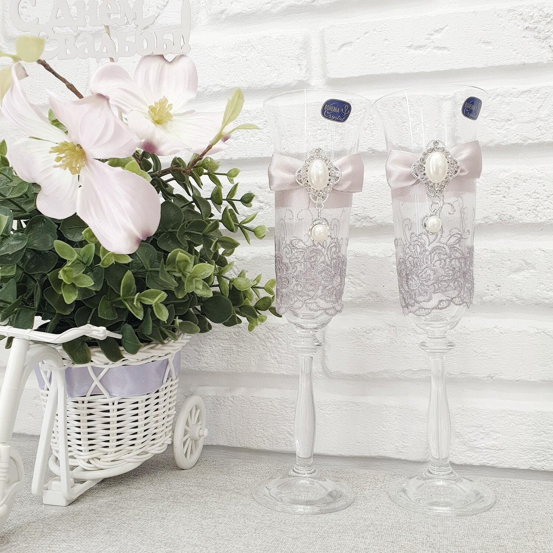 "Свадебные бокалы ""Пыльная роза"""