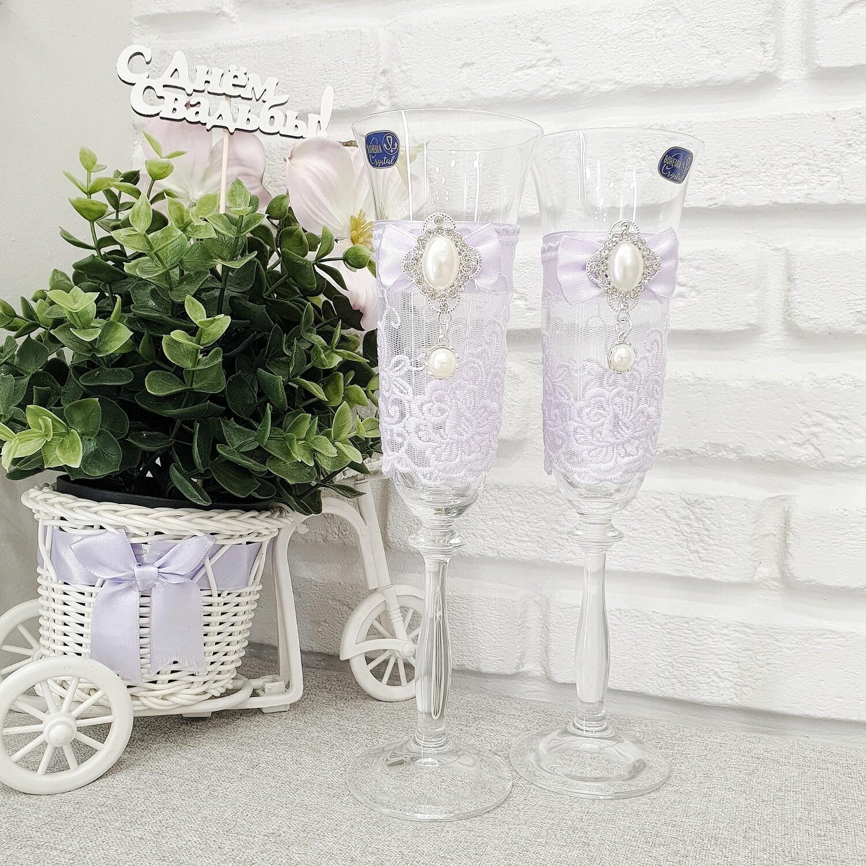 """Свадебные бокалы из набора """"Сиреневый"""""""