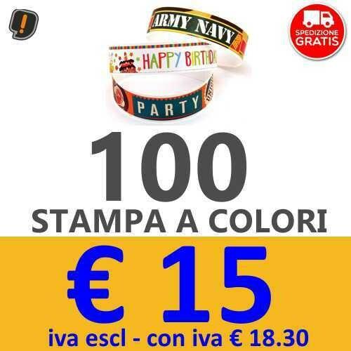 Braccialetti Stampa a Colori 100 pz