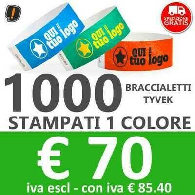 1000 Braccialetti Tyvek® con Stampa - SPEDIZIONE GRATIS