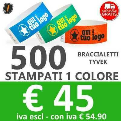 500 Braccialetti Tyvek® con Stampa - SPEDIZIONE GRATIS