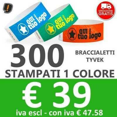 300 Braccialetti Tyvek® con Stampa SPEDIZIONE GRATIS