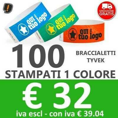 100 Braccialetti Tyvek® con Stampa - SPEDIZIONE GRATIS