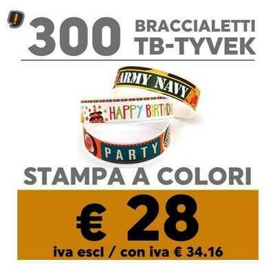 🔝 300 Braccialetti TB-Tyvek® Stampa a Colori | SPEDIZIONE GRATIS