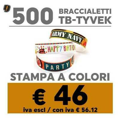 🔝 500 Braccialetti TB-Tyvek® Stampa a Colori | SPEDIZIONE GRATIS