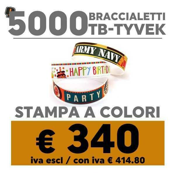 🔝 5000 Braccialetti TB-Tyvek® Stampa a Colori   SPEDIZIONE GRATIS