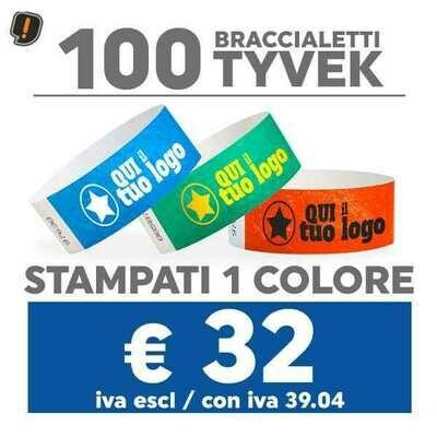 🔝 100 Braccialetti Tyvek® con Stampa SPEDIZIONE GRATIS