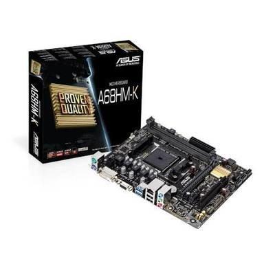 Материнская плата ASUS A68HM-K <Socket-FM2+, AMD A68H, 2xDDR3, PCI+ 2xPCI-E 16x (v.2.0+v.3.0), 4xSATA (Raid 0/1/10/JBOD), DVI+ VGA, 2xPS/2, 4xUSB, 3xAudio (8Ch), GLan> mATX, RTL