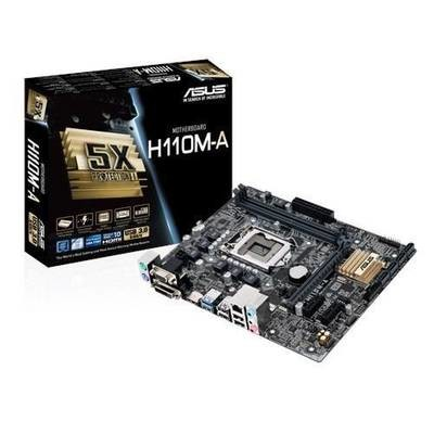 Материнская плата ASUS H110M-A/M.2 <Socket-1151, Intel H110, 2xDDR4, 2xPCI-E+ PCI-E 16x, 4xSATA+ m.2, HDMI+ DVI+ VGA, 2xPS/2, 6xUSB, 3xAudio (8Ch), GLan> mATX, RTL