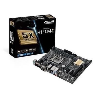 Материнская плата ASUS H110M-C <Socket-1151, Intel H110, 2xDDR4, PCI+ PCI-E+ PCI-E 16x, 4xSATA, DVI+ VGA, COM, 2xPS/2, 2xPS/2, 6xUSB, 3xAudio (8Ch), GLan> mATX, RTL