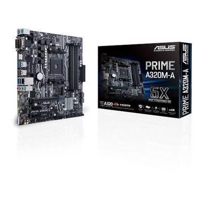 Материнская плата ASUS PRIME A320M-A <Socket-AM4, AMD A320, 4xDDR4, 2xPCI-E+ PCI-E 16x, 4xSATA (Raid 0/1/10)+ m.2, HDMI+ DVI+ VGA, 2xPS/2, 6xUSB, 3xAudio (8Ch), GLan> mATX, RTL