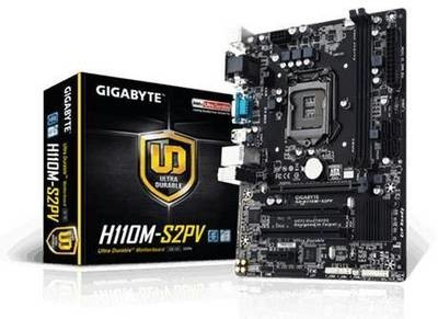 Материнская плата GIGABYTE GA-H110M-S2PV <Socket-1151, Intel H110, 2xDDR4, 2xPCI+ PCI-E+ PCI-E 16x, 4xSATA, DVI+VGA, COM, PS/2, 6xUSB, 3xAudio (8Ch), GLan) ATX, RTL