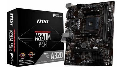 Материнская плата MSI A320M PRO-E <Socket-AM4, AMD A320, 2xDDR4, 2xPCI-E+ PCI-E 16x, 4xSATA (Raid 0/1/10), DVI+ VGA, 2xPS/2, 6xUSB, 3xAudio (8Ch), GLan> mATX, RTL