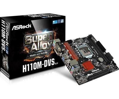 Материнская плата Asrock H110M-DVS R3.0 <Socket-1151, Intel H110, 2xDDR4, PCI-E+ PCI-E 16x, 4xSATA, DVI+ VGA, 2xPS/4, 6xUSB, 3xAudio (8Ch), GLan> mATX, RTL