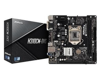 Материнская плата Asrock H310CM-DVS <Socket-1151v2, Intel H310C, 2xDDR4, PCI-E+ PCI-E 16x, 4xSATA, DVI+ VGA, PS/4, 6xUSB, 3xAudio (8Ch), GLan> mATX, RTL