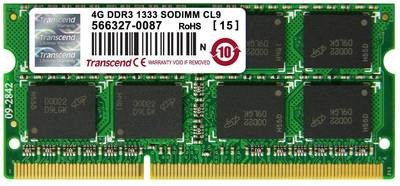 Модуль памяти Transcend 4GB SO-DIMM DDR3, 1333МГц, 2Rx8, 1.5V