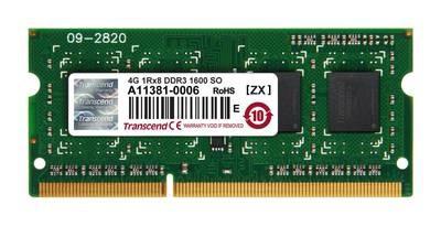 Модуль памяти Transcend 4GB SO-DIMM DDR3, 1600МГц, 1Rx8, 1.5V