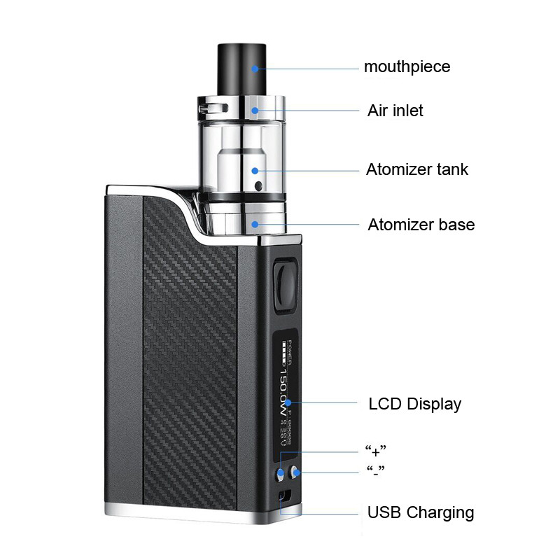 Polar Night 150w liquid electronic cigarette led vaporizer 2ml 1500mah 150w vape pen box. (Comes with 3 Coils)