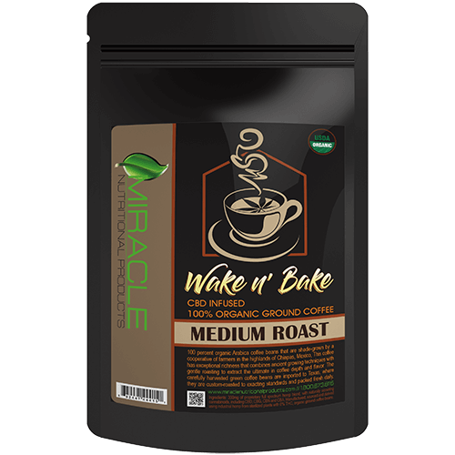 Wake N Bake CBD Organic Ground Coffee Medium Roast