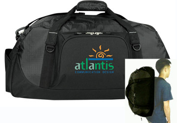 POLY RIPSTOP PIGGY BACK DUFFEL BAG WITH SHOE STORAGE