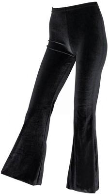 LADIES BLACK VELVET FLARE PANTS