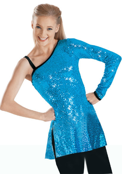 ASYMETRICAL SEQUIN STRETCH TUNIC