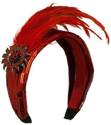 HEADBAND WITH LONG FEATHER AND BROOCH