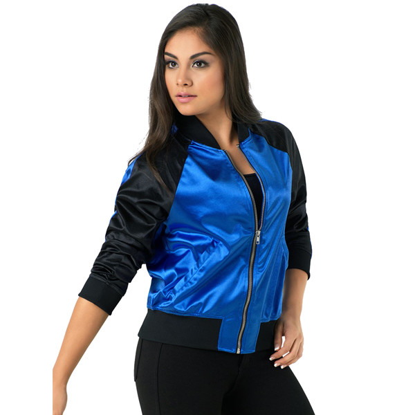 STRIPED SLEEVE SATIN BOMBER