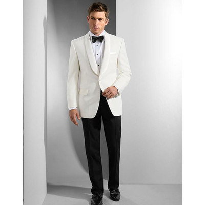 1 BUTTON SHAWL COLLAR -WHITE BLAZER