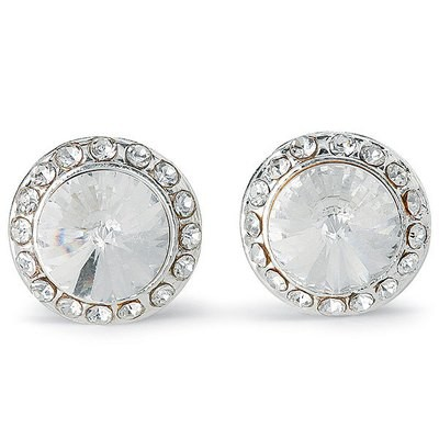 RHINESTONE BUTTON POST/ CLIP-ON DANCE EARRINGS