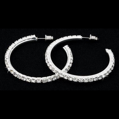 RHINESTONE HOOP DANCE EARRINGS